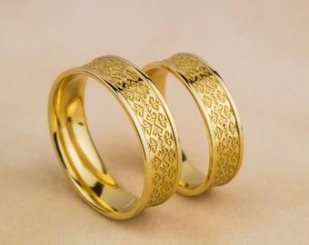 Laba Gastei Marsin - Wedding Rings in 14K Yellow Gold,Hand Carved Romanian Motif in 14K Yellow Gold Wedding Bands, Handmade Jewelry