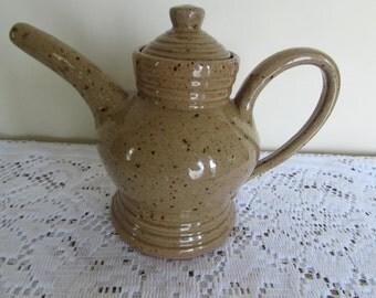 "Handmade Pottery Tea Pot Glazed Sand brown; 8"" tall with 2 cup capacity"