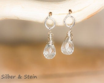Small  Earrings With Rock Crystal And Silver