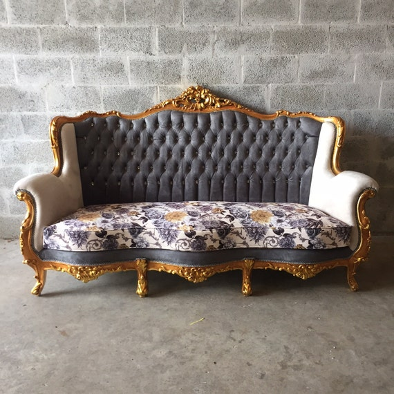 French Grey Sofa Gray Tufted Antique Gold Leaf With Floral