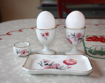 Sweet Breakfast Set: 2 Petite Floral Vintage Egg Cups, 1 Salt Cellar and Tray (4 Pieces)