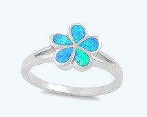 Blue Opal Plumeria Flower Ring Sterling Silver Hawaiian Plumeria Ring, 925 Silver Women's Flower Blue Opal Stone Fashion Ring Size 4-11