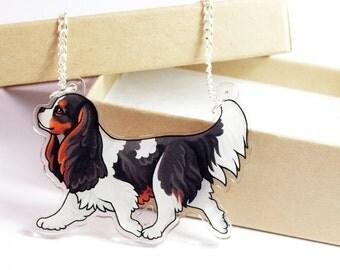 Tricolour Cavalier King Charles Spaniel Acrylic Dog Necklace
