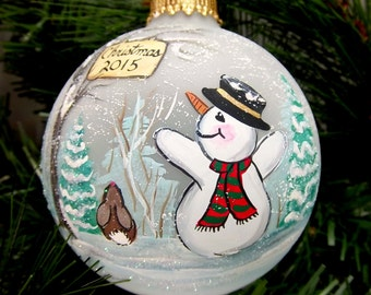 2015 Snowman Ornament, Dated Ornament, Bunny, Trees, Snow, Celebrate 2015, Free Inscription, Let it Snow