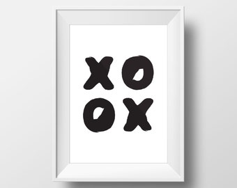 Typography Print, XOXO, Scandinavian Art, Modern Print, Contemporary Print, Minimal Wall Decor, Home Decor, Black and White Print