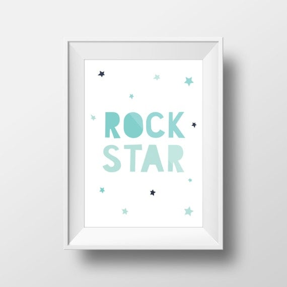 Blue Star Wall Decor : Rock star wall art playroom decals blue print