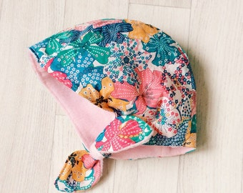 SALE!! Ready to ship! Handmade fleece lined Liberty print Winter bonnet in Mauvey 3-6m