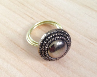 Vintage Button Wire Wrapped Ring