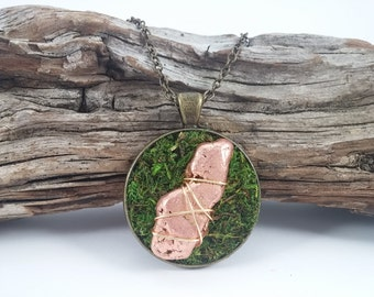 Copper Necklace Moss Necklace Brass Necklace Brass Pendant Copper Jewelry Moss Jewelry Woodland Jewelry Fairy Jewelry Crystals Stones