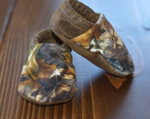 Camo and Suede baby booties, infant and toddler shoes