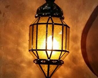 Moroccan Amber Glass Lantern.