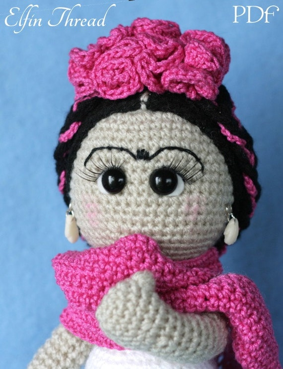 Amigurumi Monster Free Pattern : Elfin Thread Frida Kahlo Amigurumi Doll PDF Pattern Crochet
