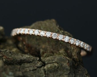 0.17 Carats Diamond Fiona 14k Rose Gold Diamond Half Eternity Band Stackable Matching Band Wedding Band Promise Ring(Other Metals Available)