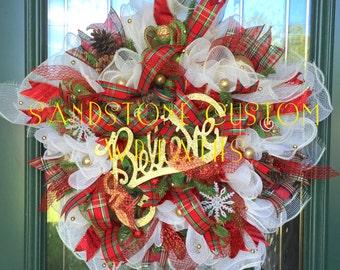 Believe Wreath, Star Wreath, Christmas, Christmas Wreath, Deco Mesh Wreath, Wreath