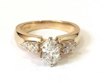 Oval Diamond Engagement Ring, 14K Yellow Gold Diamond Ring, Retro 1970's Style Anniversary Ring
