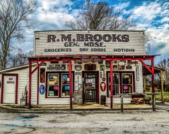 Old Fashioned Store, Historic Building, Country Shop, Old Timey Shop, Abandoned Building, General Store Print, Old Gas Station, Mom and Pops