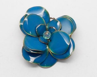 Vintage Blue Enamel Flower Brooch