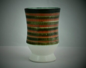 "Iden beaker vase (4.25"") in white with hand painted bands in green and pink. Dennis Townsend designed 1960s vase from Rye-based pottery"