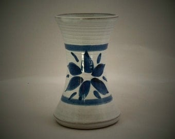 White earthenware vase with blue bands and floral motif. 1970s retro vase from Tregurnow pottery Cornwall. Studio pottery by George Smith