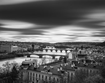 City Fine Art Photo: Prague Bridge, Fine Art Black and White Photo from Prague Czech Republic