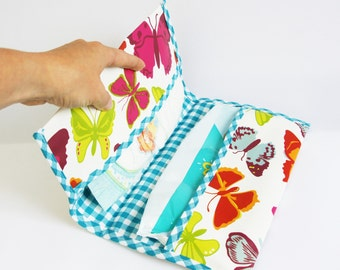 Butterfly print diaper bag case, handmade diaper envelop, unique diaper bag, diaper case, diaper bag for girls, baby shower gift