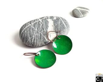 Handmade copper earrings/Green enamel earrings/Dangling earrings/Natural earrings/Green earrings/Copper earrings