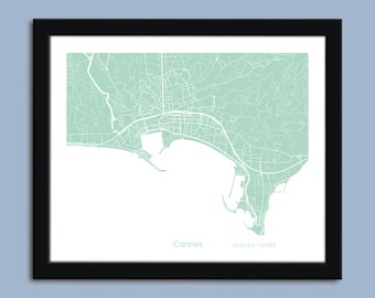 Cannes map, Cannes city map art, Cannes wall art poster, Cannes decorative map