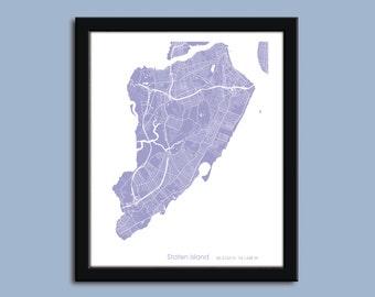 Staten Island map, Staten Island city map art, Staten Island wall art poster, Staten Island decorative map