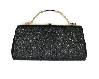1960's Black Glitter Evening Bag With Gold Handle And Accents