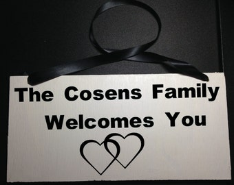 Custom Family Welcome Sign Door Hanger