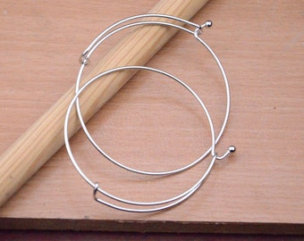 50pcs silver bangles wholesale.Expandable Bracelets.adjustable sliver wire bracelet.65mm shiny silver wired bangles pendant jewelry making