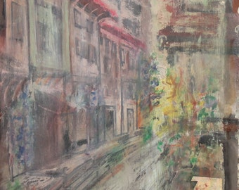 1984 Impressionist Cityscape Oil Painting Signed