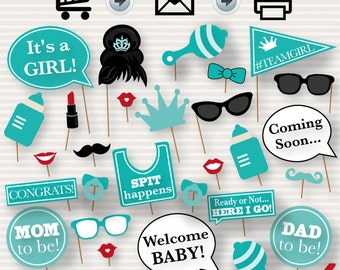 Baby Shower Printable Photo Booth Props - Tiffany's Baby Shower Printables - Baby Girl Photo Booth - Breakfast at Tiffany's  Baby Shower