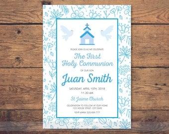 Blue first communion invitation boy, first communion boy, first communion invitation printable, 1st communion, first communion party