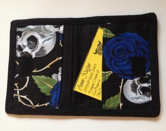 Denim Skulls and Roses Card Holder Wallet, Credit Card Case, Gift Card or Business Cards