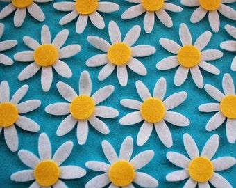 12 x Die Cut Felt Daisies Die Cut Felt Daisy White Yellow Centre Felt Flower Shapes