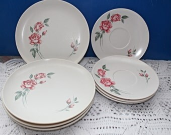 Lot of 8 Mid Century original Melmac Dishes made in Canada Pink Roses and Rose Buds Creamy White Background