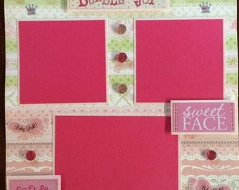 """1 Page 12x12 Premade Scrapbook Page Set-""""Baby Girl"""""""