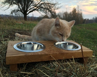 Pet feeder for cats or small dogs with 2 bowls
