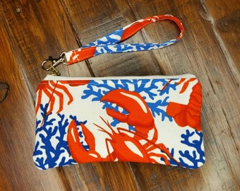 Lobster Purse, Small Wristlet, iphone6 Plus wallet,