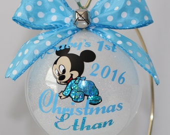"Baby's First Christmas Ornament personalized with year and baby's name Mickey Mouse. 4"" Acrylic or Glass ornament made with Vinyl decals"