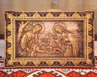 Holy family Nativity Wood carved icon christmas gifts christening gifts first communion gifts anniversary gifts religious wall art