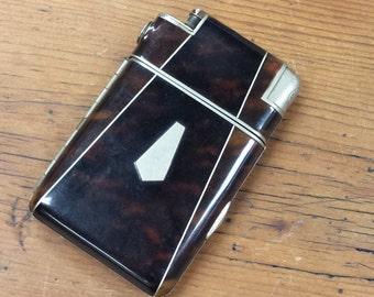 Marathon Tortoise Shell Cigarette Lighter and Case
