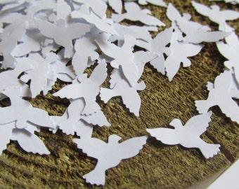 Dove Confetti in White, Baptism Decoration, Wedding Paper Doves, Wedding Table Scatter, Baptism Confetti, Dove Die Cuts, Bridal Shower Decor