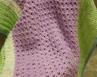 Baby Blanket: Green and Purple