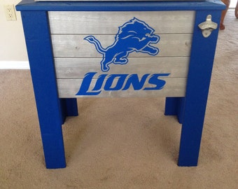 Detroit Lions wood cooler stand