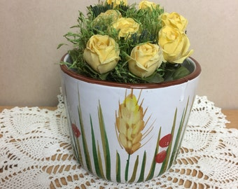 Vintage Ceramic Planter Hand Painted Round Pot White With Wheat and Grass