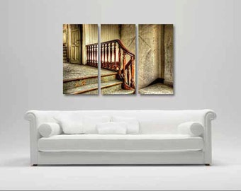 3 Panel Split Stair Rail Canvas Prints - Colorful decor for home or office | Interior Design