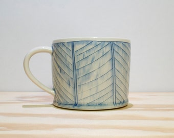 Blue & White Herringbone Mug