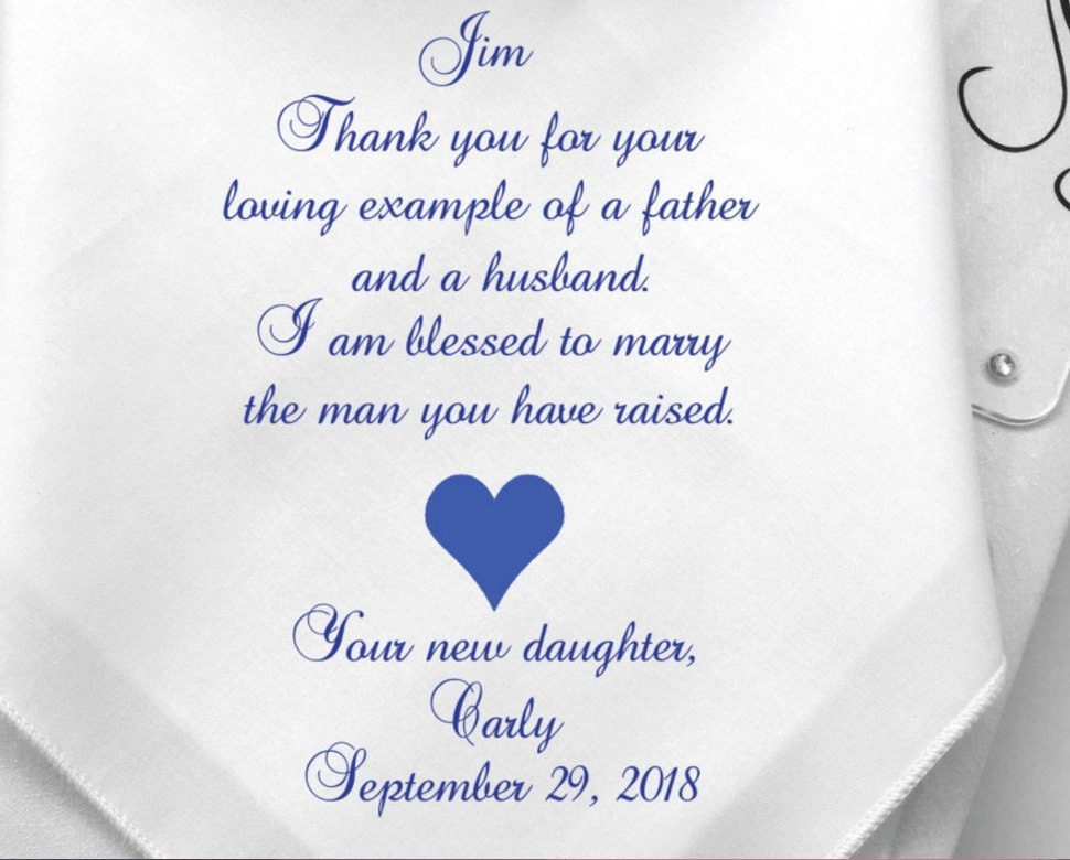 Father In Law Wedding Gifts: Father In Law Wedding Gift-Personalized Wedding Handkerchief